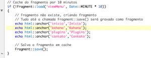 Kohana Fragments, exemplo de uso