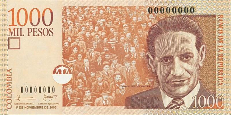 Dinheiro colombiano: 1000 pesos