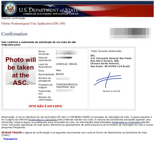 CASV anotou símbolo de diferente no formulário DS-160